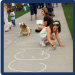 Children playing with chalk